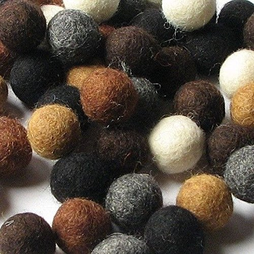 60 Hand-felted Wool Felt Balls 2CM NEUTRALS HandBEHG Felts Fiber Crafts