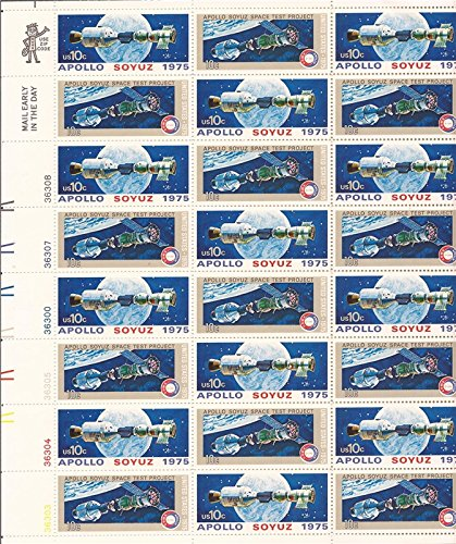 1975 APOLLO-SOYUZ MISSION Full Sheet of 24 x 10 cent Stamps Scott 1569-70 - Apollo Soyuz 1975