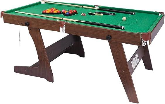 Mesa plegable de billar o snooker, de HLC, con bolas y otros accesorios, color verde, 1,80 m, verde: Amazon.es: Deportes y aire libre