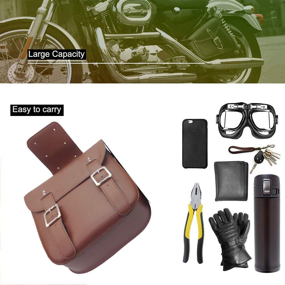 Heavy-Duty Waterproof Scratch-resistant PU Leather Fork Bag Color : Brown POCOT 2PCS Motorcycle Saddlebags Retro Swingarm Side Tool Bags