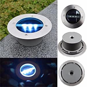 4SET Outdoor Solar 3LED Qualited Stainless Steel Ground Floor Light Garden Lamp (white)