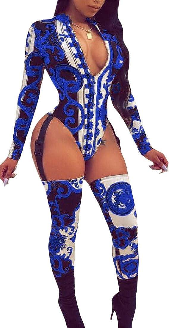 Pandapang Womens Irregular Comfy Hollow Print Stitch V-Neck Bodysuit Jumpsuits