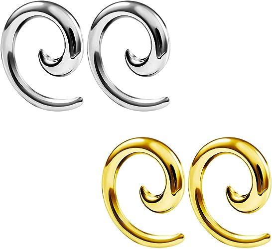 KIT 4PCS Steel CZ Gem EAR PLUG Flexible Silicone Earskin Ear Gauge Ear Tunnels
