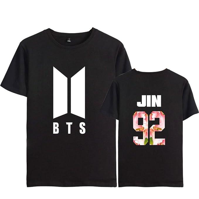 AILIENT Camiseta Atractivas Mujer KPOP BTS Camiseta Estampada Bloom Floral  Suga Jin Jimin Jung Kook J-Hope Rap-Monster V Tshirt Verano Cuello Redondo   ... 54b6b151e34