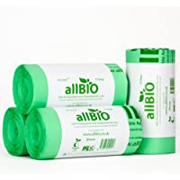allBIO 10 Litre Compostable Food Waste Kitchen Caddy Liners / Bin Bags - 100 Liners