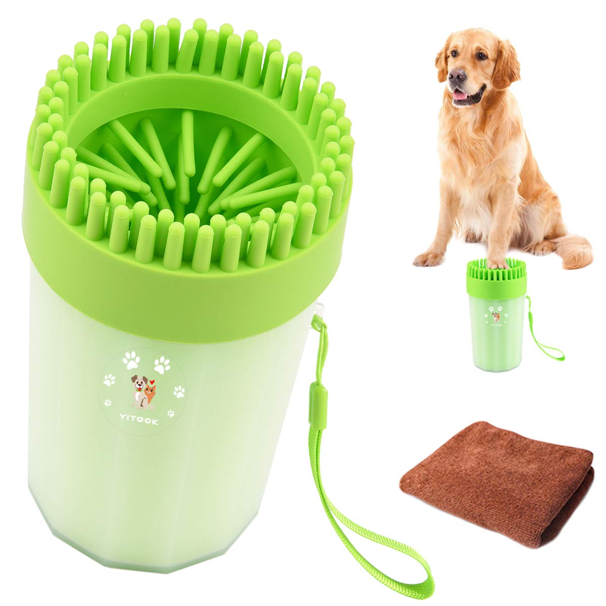 YITOOK Dog Paw Cleaner, Portable Dog Feet Washer with Towel,Upgrade 2 in1 Pet Paw Cleaner Plus Grooming Dog Plunger Feet Washer Cup for Muddy Paws (Green)