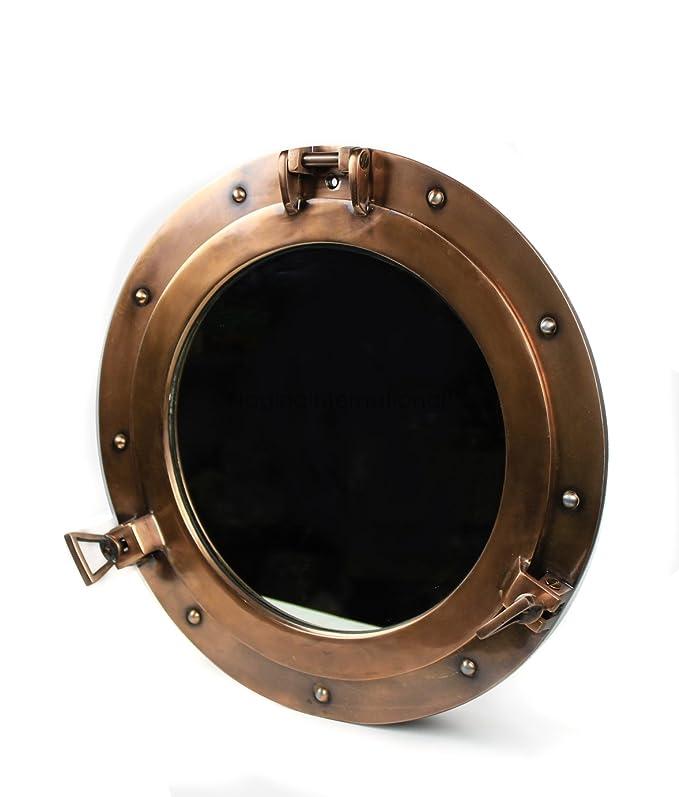 RedSkyTrader 14 Nautical Ship Porthole Mirror with Iron Antique Finish