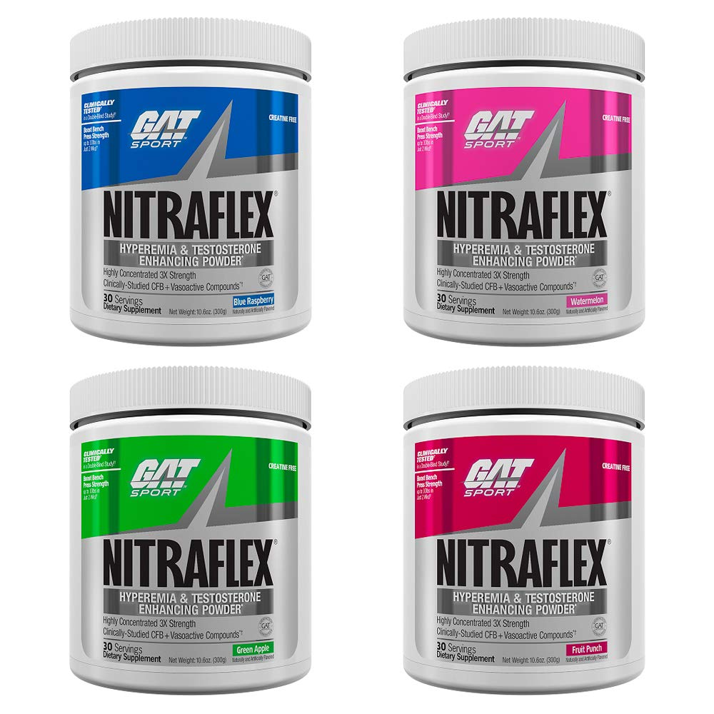 GAT Nitraflex - Variety Pack: Watermelon, Green Apple, Fruit Punch, Blue Raspberry - Hyperemia & Testosterone Enhancing Powder (30 Servings) | 4-Pack by GAT (Image #1)