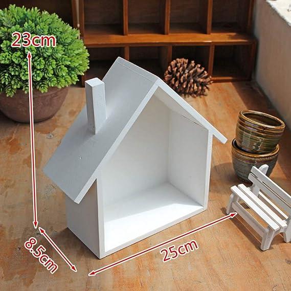 RUICK Estanter/ía de Pared de Madera con Forma de casa de Rick para Colgar en una Caja Creativa