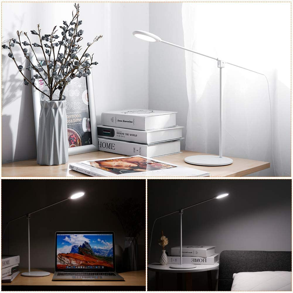Zanflare Lampe Bureau LED, Lampe de Table Dimmable Flexible Contrôle Tactile Protection des Yeux,Lampe de Lecture Avec Port USB