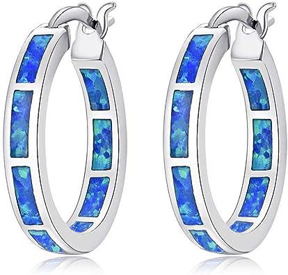 1 Pair Woman Fashion 925 Silver Jewelry Blue Fire Opal Charm Earring Pendant ~~!