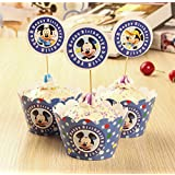 TOP Stuffsz - Blue Mickey Mouse Cupcake Toppers & Wrappers Baby Shower Birthday Party Favors for Kids Cake Accessory Decoration Supplies 24pcs- Serve 12