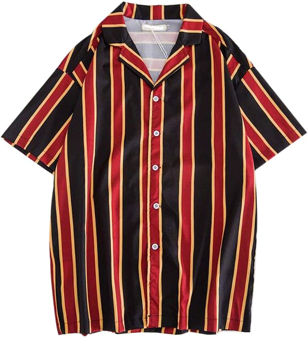 YYear Mens Casual Short Sleeve Stripe Button Front Shirts
