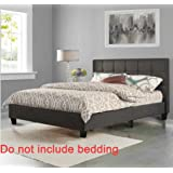 Linen Fabric Upholstered Platform Bed with Wooden Slats, Queen Size BestMassage