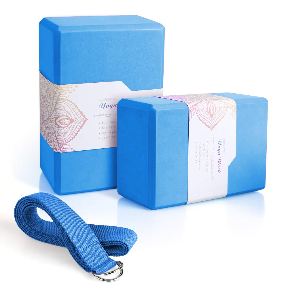 Arltb Yoga Block 2 Pack Yoga Bricks 9'' x 6''x 4'' with Metal D-Ring Yoga Strap Combo Set, Eco-Friendly EVA Foam Exercise Yoga Blocks, Improve Stability and Balance, Lightweight - Odor Resistant by Arltb