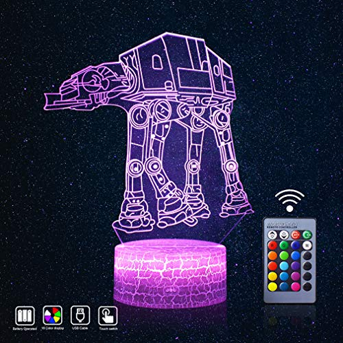 Star Wars Night Light 3D LED Mood Nursery Lights Remote Control and 16 Colors Display Lamps Novelty Gadget Best Xmas Bday Thanksgiving Party Gift Ideas for Kids -