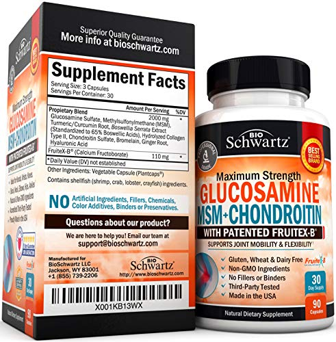 Glucosamine Chondroitin MSM Turmeric for Hip, Joint & Back Pain Relief. Anti Inflammatory Supplement with Hyaluronic…