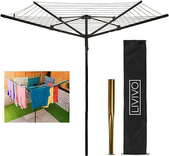 Tendedero resistente y giratorio de 4 brazos para jardín, de FiNeWaY, 45 m de cuerda, incluye estaca para el suelo y bolsa de pinzas: Amazon.es: Hogar