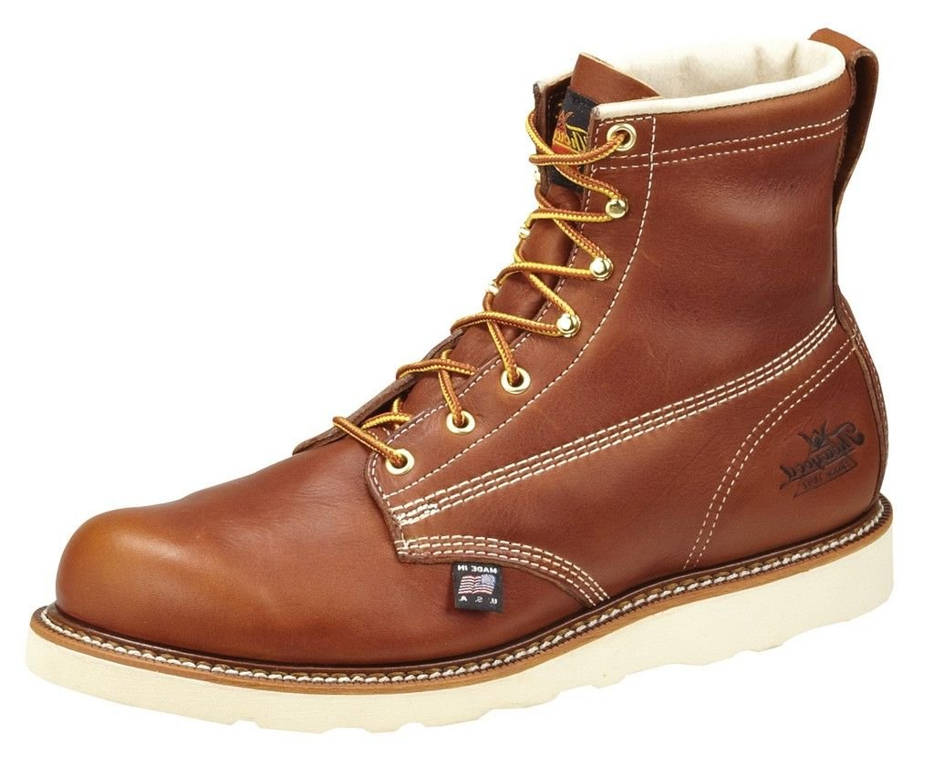 Thorogood 814-4355 Men's American Heritage 6'' Round Toe, MAXwear Wedge Non-Safety Toe Boot, Tobacco Oil-Tanned - 6.5 2E US