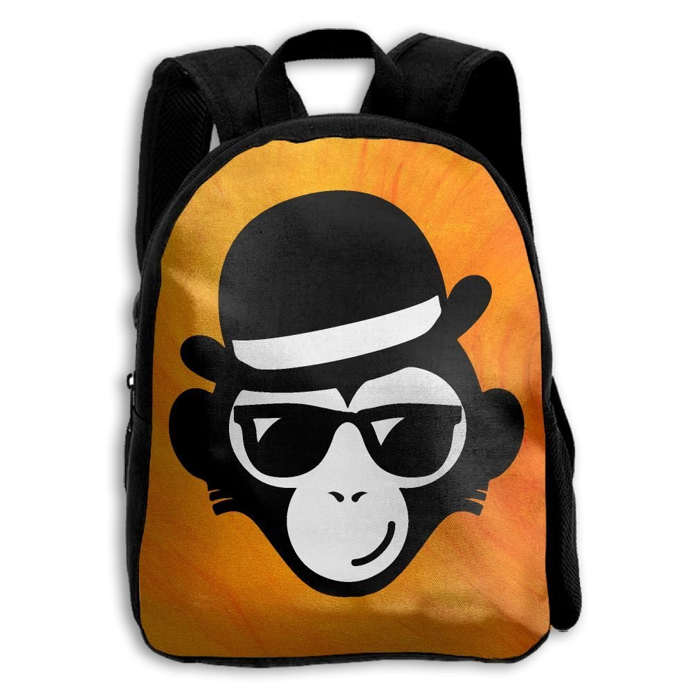 YEWEI モンキーと帽子 男女兼用 3Dプリント ワイドジッパー 学校 旅行バッグ ショルダーバッグ 子供用 バックパック   B07G4BDS8G