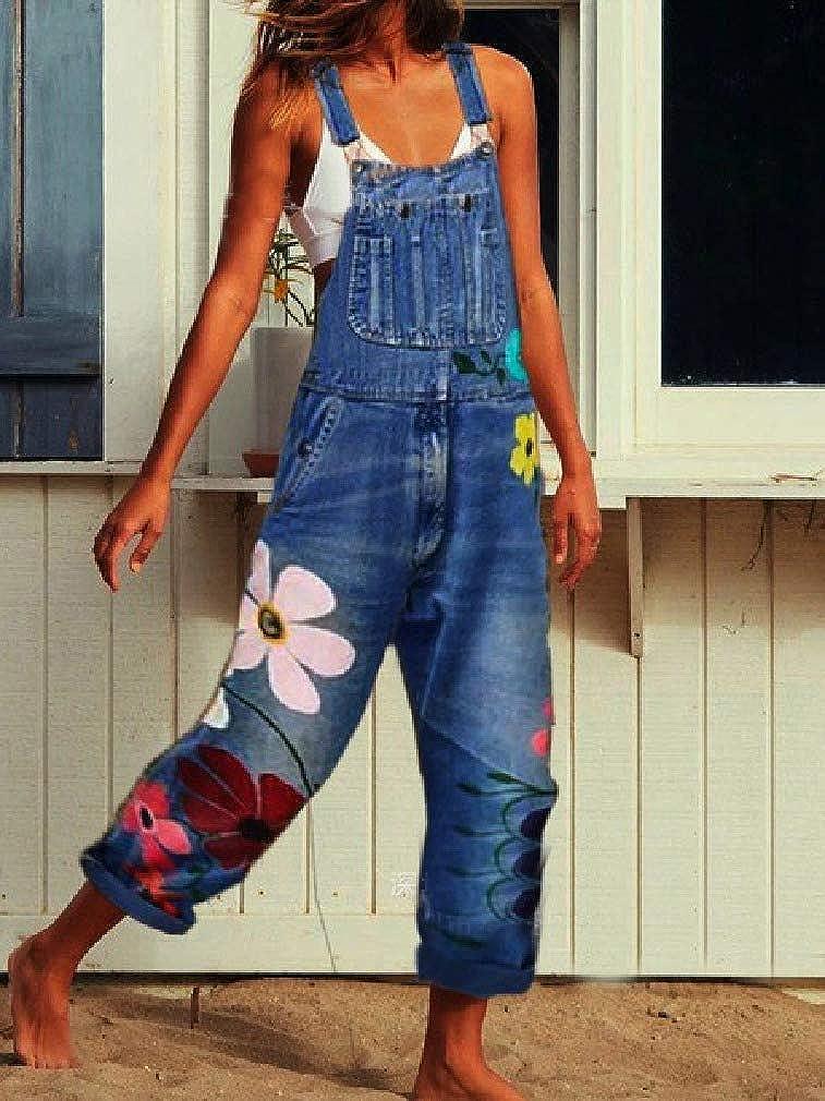 ouxiuli Womens Slim Fit Stretch Print Denim Bib Overalls Romper Long Jumpsuit