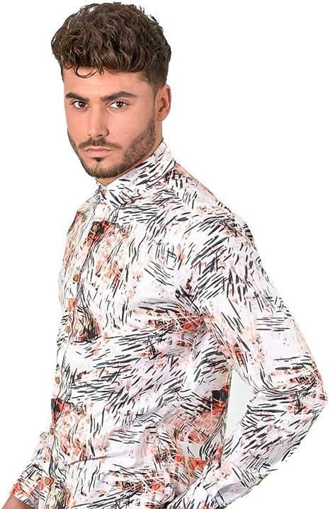 DIVARO - Camisa Estampada Manga Larga Color SALMÓN - para Hombre: Amazon.es: Ropa y accesorios