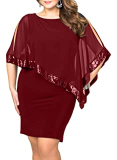 97ddc90b3bf7 Lalagen Womens Sequins Cape Overlay Plus Size Bodycon Party Cocktail Pencil  Dress 1X-4X