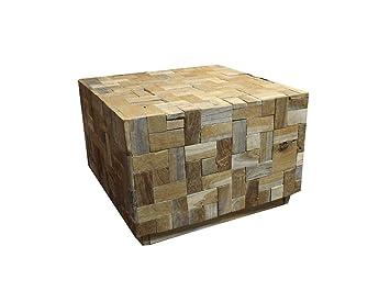 Meubletmoi Table Basse carré en Teck recyclé 60 cm - Design ...
