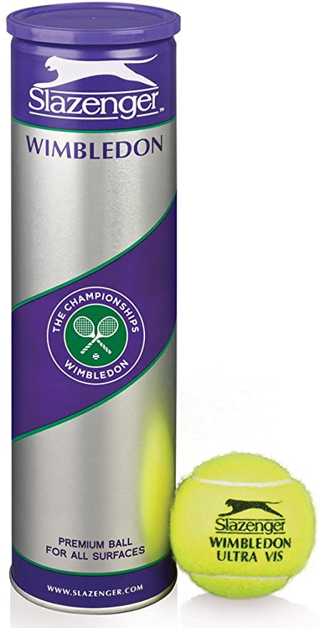 Slazenger Wimbledon Ultra Vis - Tubo de 4 pelotas de tenis, color amarillo