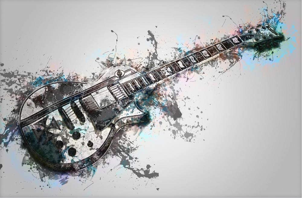 HXCHR Music electric guitar stringed instrument rock guitar,Paint By Numbers For Adults DIY Oil Painting Gift Kit Canvas Art Home Decoration-30x40cm