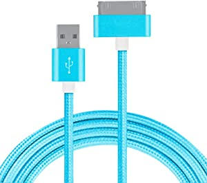 Nylon Braided Charger Cable for iPhone4 4s iPad, 30 Pin Cable Fast Charging USB Sync Charging Cord Cables for iPhone 4 / 4S, iPad 1/2 / 3, iPod (Blue)