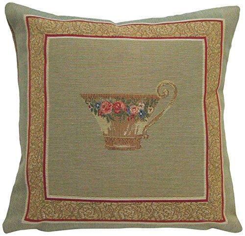 Corona Decor French-Woven Pillow, Tea Cup Design (Corona Patio Furniture)