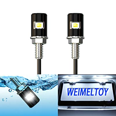 WEIMELTOY License Plate Light, License Screw Bolt LED, Super Bright 12V Waterproof License Plate LED Bulb Legal for Motorcycle Bike Truck RV ATV, Cool White(2PCS): Automotive
