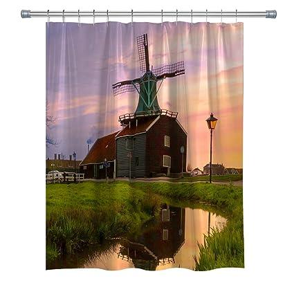 Aperfect Windmill Shower Curtain Nature Country Scenery River Street Lamp Grassland Sunset Waterproof Fabric