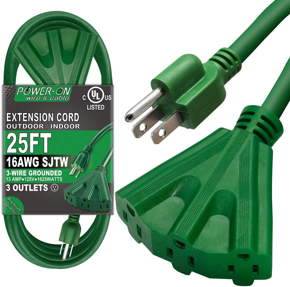 Kasonic 25 Ft Extension Cord with 3 Outlets, UL Listed; 16/3 SJTW; 3-Wire Grounded; 13A 125V 1625W; for Indoor/Outdoor Use - Green