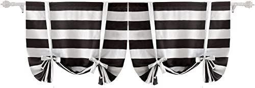 Deconovo Striped Tie up Blackout Set of 2 Light Blocking Pattern Curtains for Dining Room, 46Wx63L inch, Coffee Bean