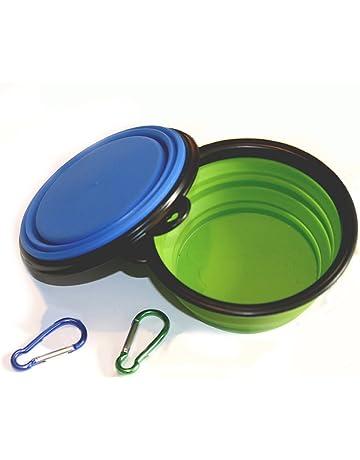 taz/ón de Viaje port/átil Aibada Taz/ón para Perros Plegable Doble taz/ón para Perros port/átil de Silicona de Grado alimenticio BPA