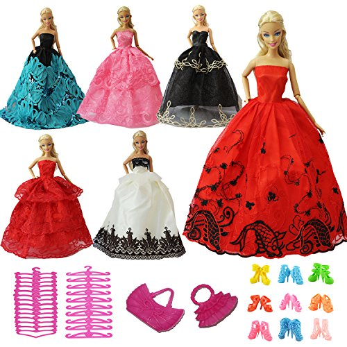 ZITA ELEMENT Lot 15 item= 5 Handmade Fashion Party Dress Outfit for Barbie Clothes- Random Style with 5 Shoes, 3 Hangers, 2 Handbag