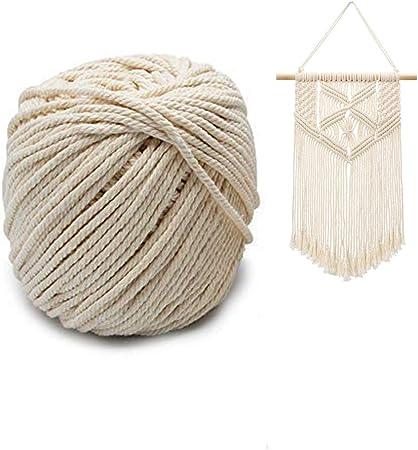 Koitoy Macrame corda naturale cotone a filo spago corda per bricolage macram/è principianti Wall Hanging Plant Hanger fai da te regali regalo beige 3/mm//90/M