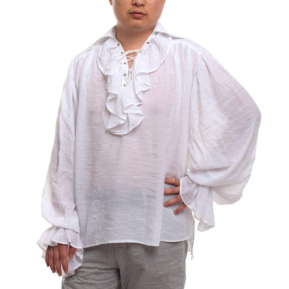 GRACEART Men's Medieval Viking Pirate Shirt Costume White