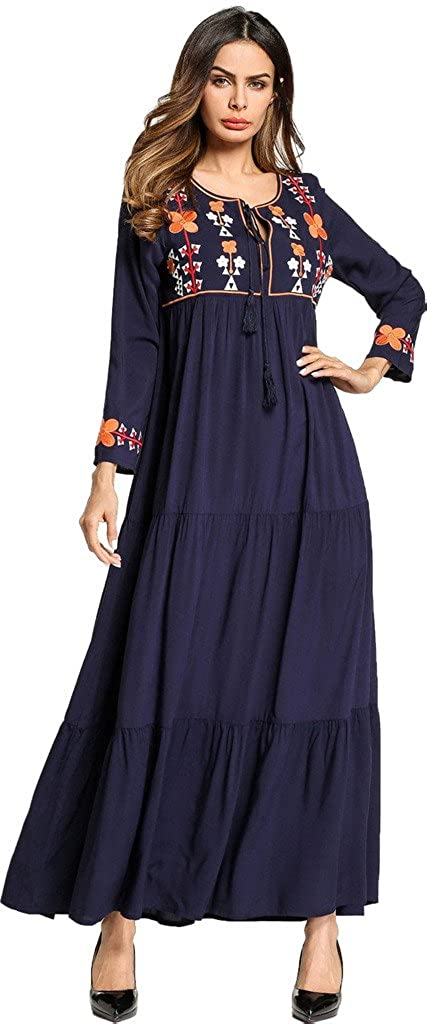 eff9881185a5d2 Ababalaya Damen Casual Weich Ethnischer Stil Stickerei Drucken Langarm  Knöchellang Muslimisch Islamisch Abaya Kleid  Amazon.de  Bekleidung