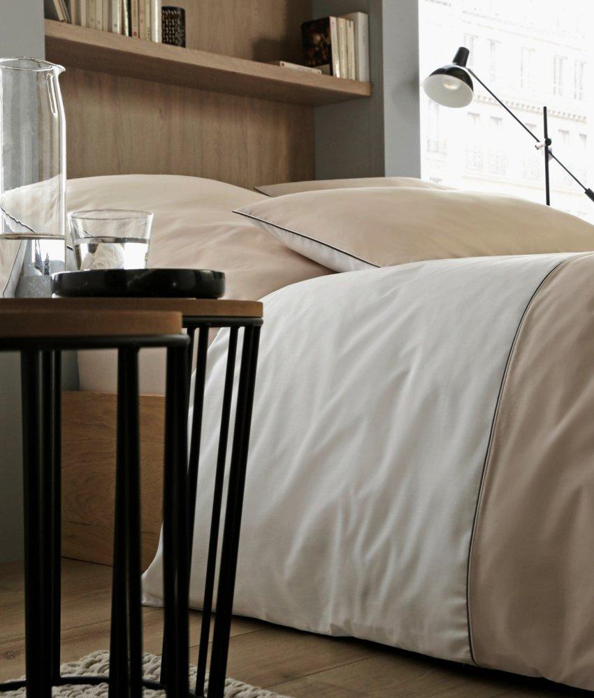 Rose Village  Luxus Bettwäsche-Set, Design Biarritz, Edelperkal 80 Fd. cm² (200 TC in²), Zweifarbig  weiß beige (Bettwäsche-Set 220x240+2X(80x80))