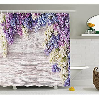 Rustic Home Decor Shower Curtain By Ambesonne, Lilac Flowers Bouquet On  Wood Table Spring Nature