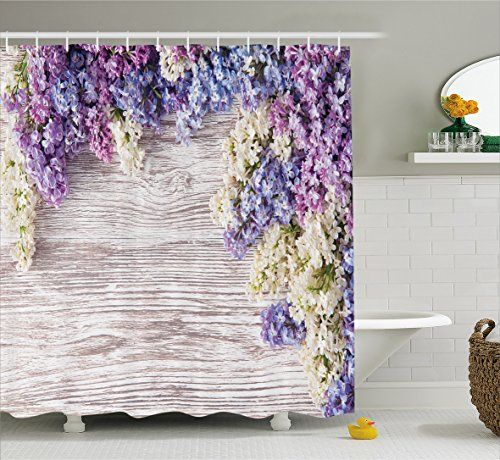 Rustic Home Decor Shower Curtain by Ambesonne, Lilac Flowers Bouquet on Wood Table Spring Nature Romance Love Theme, Fabric Bathroom Decor Set with Hooks, 75 Inches Long, Lilac Violet Dark Taupe