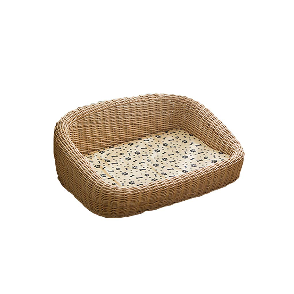 Natural 78631224cm Natural 78631224cm Pet Bed Wicker Dog Bed Basket with Washble Cushion Four Seasons Available (color   Natural, Size   78  63  12  24cm)