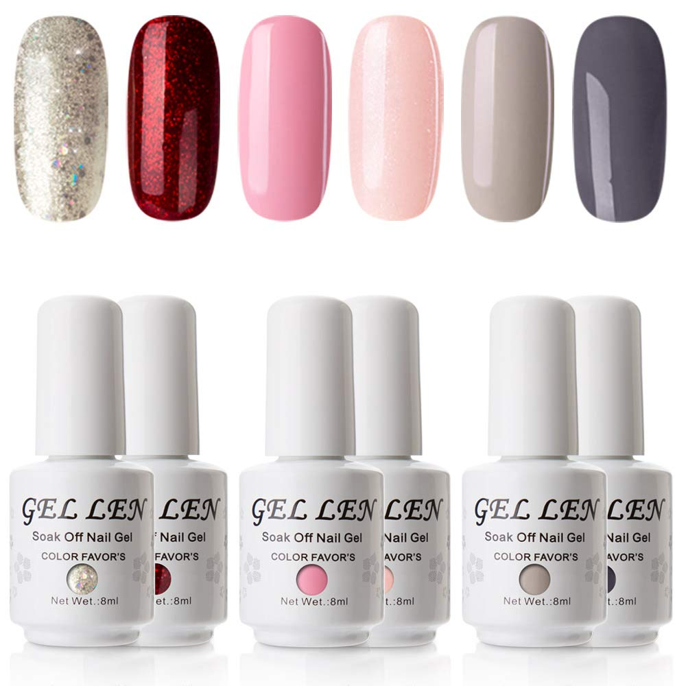 Gellen Various 6 Romantic Colors Gel Nail Polish Starter Kit Set Ltd