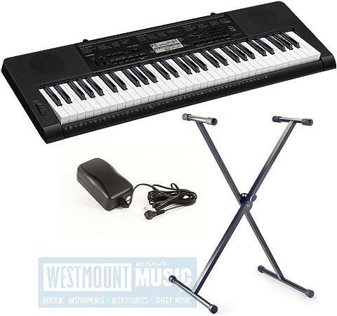 New Casio CTK3000 con protector de teclado táctil + con función de atril + adaptador de CA Westmount producto exclusivo de música