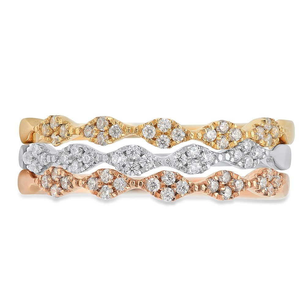 0.9ct Brilliant Round Cut Solitaire Petite Stacking Band 14k Solid Tri-Tone Gold, 5.75