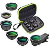APEXEL 6in1 Clip on Phone Lens Kit,Super 210°Fisheye lens + 2x Telephoto Lens + 120°HD Wide Lens&15x Macro Lens + 6 Star Filter + CPL for iPhone x 8 8plus Samsung S8 S8 plus S9 and most Smartphone
