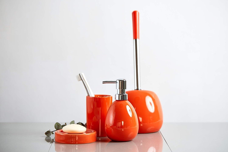 Wenko 4008838182895 Ceramic Soap Dispenser Polaris Orange